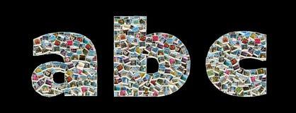 Literas de A, de B y de C - collage de las fotos del recorrido Imagen de archivo libre de regalías