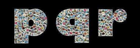 Literas de P, de Q y de R - collage de las fotos del recorrido Foto de archivo