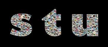Literas de S, de T y de U - collage de las fotos del recorrido Foto de archivo libre de regalías