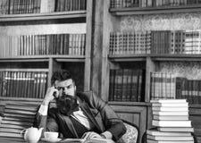 Literatur, Erfolg, Gedanken, Träume, Bibliothek, Bildung, Klugheitskonzept Herausgeber sitzt in der Bibliothek und liest Buch lizenzfreie stockfotos