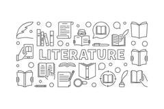 Literatura horyzontalny wektorowy minimalny sztandar ilustracji