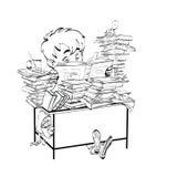 A literatura, menino do estudante lê livros ilustração stock