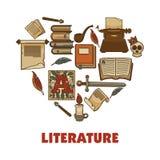 Literatura promocyjny plakat z książkami i papierów ingots royalty ilustracja