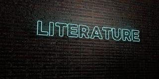 LITERATURA - Realistyczny Neonowy znak na ściana z cegieł tle - 3D odpłacający się królewskość bezpłatny akcyjny wizerunek ilustracji