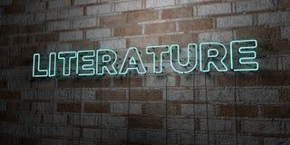 LITERATURA - Rozjarzony Neonowy znak na kamieniarki ścianie - 3D odpłacająca się królewskości bezpłatna akcyjna ilustracja ilustracja wektor