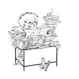 Literatura, studencka chłopiec czyta książki ilustracji