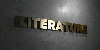 Literatura - Złocisty tekst na czarnym tle - 3D odpłacający się królewskość bezpłatny akcyjny obrazek ilustracji
