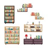Literature Book Stack on Bookshelf Bookcase Rack Library Furniture.  royalty free illustration