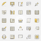 Literature colorful icons set. Vector reading and writing creative symbols. Book modern signs or design elements Royalty Free Stock Photos