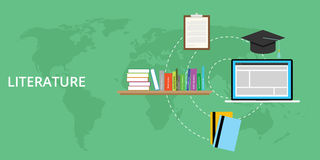 Literature concept and online learning. Literature concept with books and online learning vector illustration