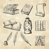 Literature concept pictures. Vintage hand drawings books and different tools for writers. Literature book sketch, hand drawing literary and feather pen with Royalty Free Stock Photography