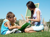 Literature lesson on fresh air. Education Stock Images