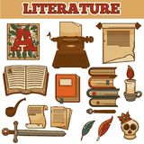 Literature old vintage books and writer quill ink pen  Stock Image