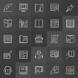 Literature outline icons. Vector collection of reading and writing signs on dark background Royalty Free Stock Image