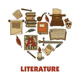 Literature promotional poster with books and paper ingots. Ancient handwritten relics, human skull, sharp sword, wax candle and smoking pipe cartoon flat Stock Image