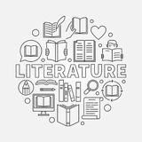 Literature round illustration. Vector circular reading concept symbol made with outline book icons Royalty Free Stock Photo