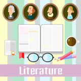 Literature. Set of educational icons for studying literature Stock Photo