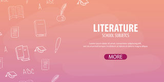 Literature subject. Back to School background. Education banner. Stock Photo