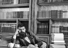 Literature, success, thoughts, dreams, library, education, wisdom concept. Editor sits in library and reads book. Bearded man with thoughtful face. Mature man royalty free stock photos