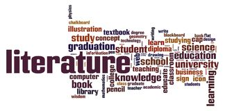 Literature word cloud. Concept on white background, 3d rendering Stock Photography