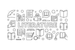 Literatuur horizontale vector minimale banner stock illustratie