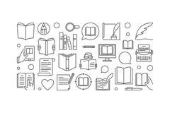 Literatuur vectorillustratie of lijnbanner vector illustratie