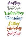 Literowanie dni tydzień Niedziela, Poniedziałek, Wtorek, Środa, Czwartek, Piątek, Sobota Nowożytna Kolorowa kaligrafia Fotografia Royalty Free