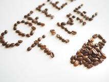 Literowanie kawowy czas układający od kawowych fasoli Zdjęcie Royalty Free