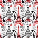 Literowanie Paryż i wieża eifla Bezszwowi deseniowi Wesoło boże narodzenia i Szczęśliwa nowy rok moda kreślą prezenta pudełko, dr ilustracji
