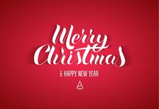 Literowanie w popularnym stylu ` Wesoło bożych narodzeń nowego roku Szczęśliwy ` Białego papieru listy z cieniem na czerwonym tle Ilustracja Wektor