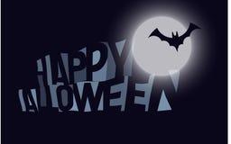 Literowanie z księżyc i nietoperza wektoru sztandarem Straszny Szczęśliwy Halloweenowy sztandaru szablon Negatywu astronautyczny  ilustracji