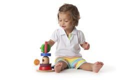 litet barn för kulör flicka för tegelstenar leka Arkivbilder