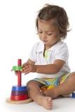 litet barn för kulör flicka för tegelstenar leka Royaltyfri Fotografi