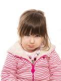 Litet barn med en förkylning och fullt av snoret arkivfoton