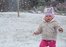 Litet barn som går medan dess Snowing ut Royaltyfria Foton