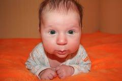 Litet barnbilden av sötsaken behandla som ett barn pojken, stående av barnet Gulligt litet barn med gröna ögon Royaltyfri Fotografi