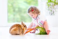 Litet barnflicka med lockigt hår som spelar med den verkliga kaninen Arkivfoto