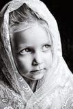 Litet barnflickan i vit snör åt Royaltyfri Fotografi