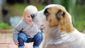 Litet barnpojke som spelar med hunden royaltyfri fotografi