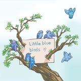 Litet blått fågel och träd Arkivfoton