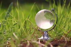 litet crystal jordklot för låg vinkel i gräset lopp och globalt frågebegrepp Royaltyfri Bild