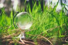 litet crystal jordklot för låg vinkel i gräset lopp och globalt frågebegrepp Arkivfoto