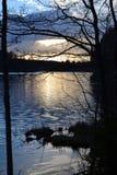 Litet damm i solnedgång Arkivbild