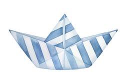 Litet dekorativt vikt pappers- fartyg som dekoreras med modellen för blåa band vektor illustrationer