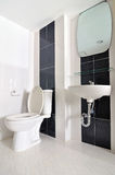 Litet enkelt badrum med vasken och toaletten Royaltyfria Bilder