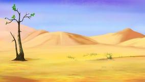 Litet ensamt träd i en öken vektor illustrationer