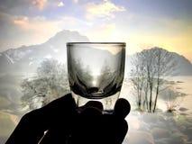 Litet exponeringsglas för bruk i drinkar Arkivbild