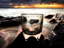 Litet exponeringsglas för bruk i drinkar Royaltyfria Foton