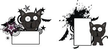 Litet för tecknad filmhalloween för svart katt utrymme kopia vektor illustrationer