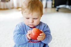 Litet förtjusande behandla som ett barn flickan som äter det stora röda äpplet Arkivbilder